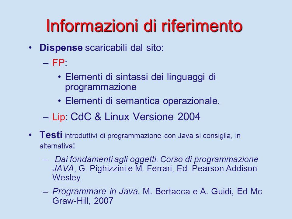 Informazioni di riferimento I siti dei corsi su cui vengono mantenute le informazioni (consultare periodicamente): per F.P: http://www.di.unipi.it/~occhiuto/FP.html http://www.di.unipi.it/~occhiuto/FP.html per Lip: http://www.di.unipi.it/~occhiuto/Lip.htmlhttp://www.di.unipi.it/~occhiuto/Lip.html