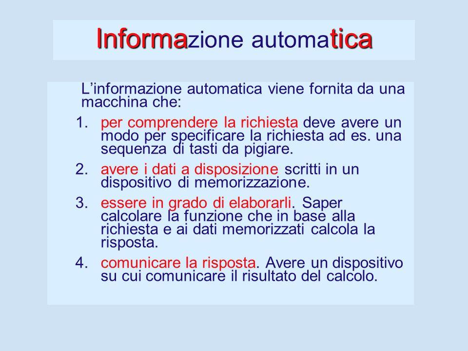Informazione Per fornire informazione è necessario: 1.