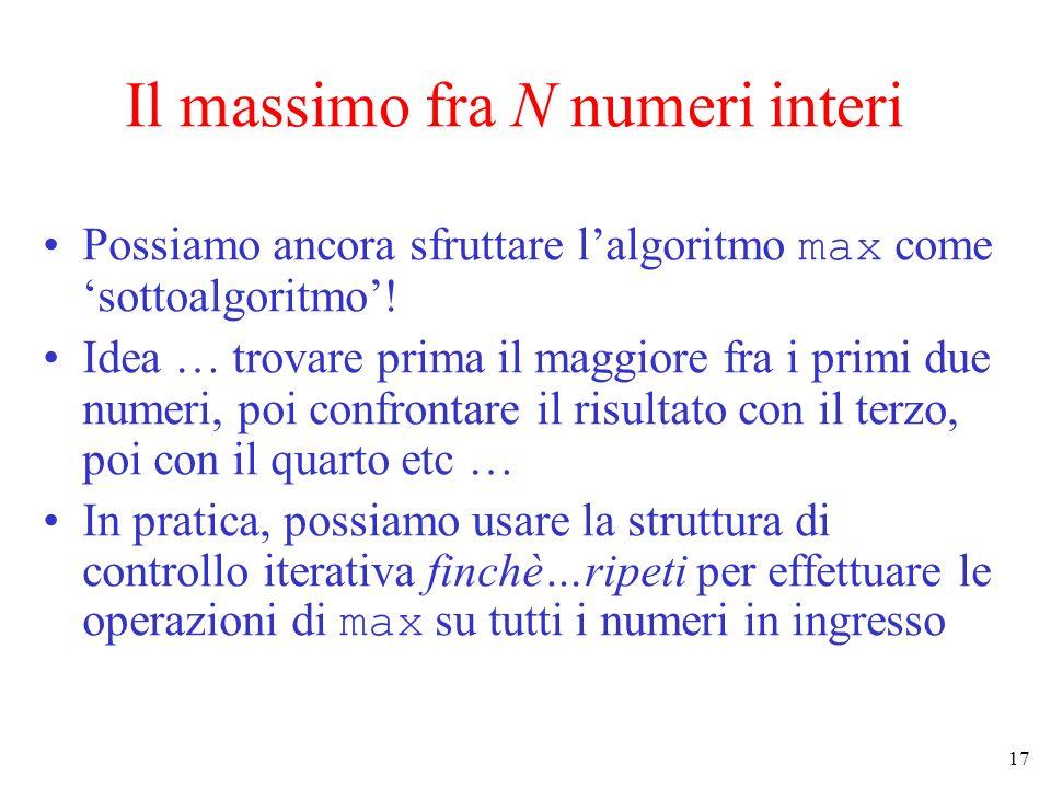 17 Il massimo fra N numeri interi Possiamo ancora sfruttare lalgoritmo max come sottoalgoritmo! Idea … trovare prima il maggiore fra i primi due numer