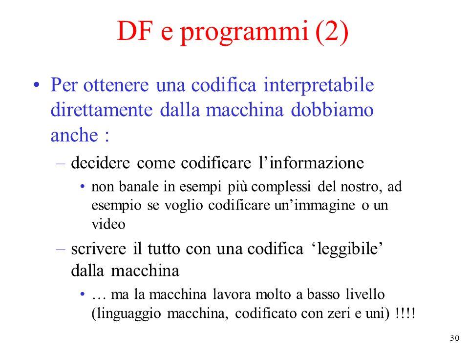 30 DF e programmi (2) Per ottenere una codifica interpretabile direttamente dalla macchina dobbiamo anche : –decidere come codificare linformazione no