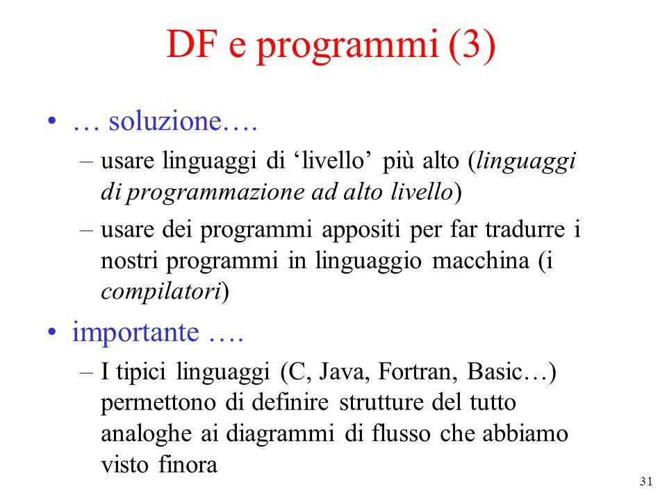 31 DF e programmi (3) … soluzione…. –usare linguaggi di livello più alto (linguaggi di programmazione ad alto livello) –usare dei programmi appositi p