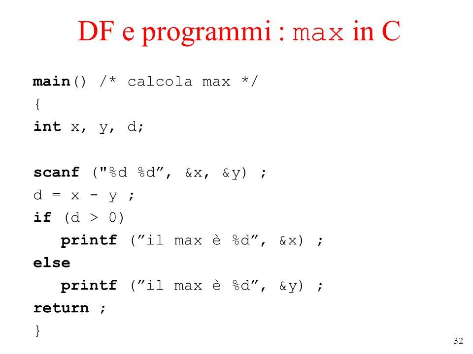32 DF e programmi : max in C main() /* calcola max */ { int x, y, d; scanf (