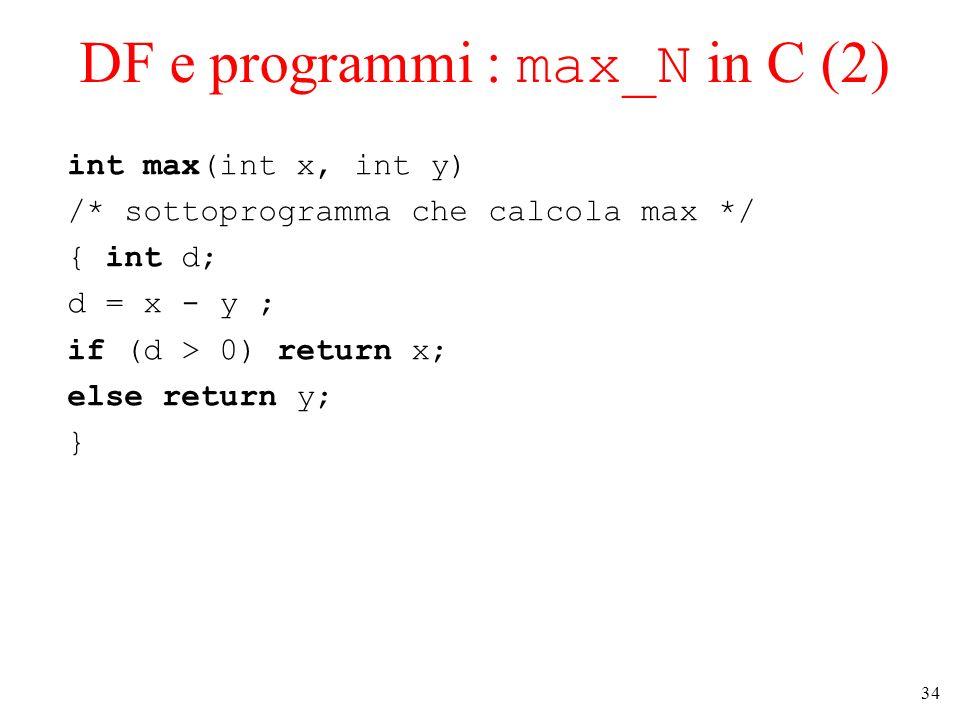 34 DF e programmi : max_N in C (2) int max(int x, int y) /* sottoprogramma che calcola max */ { int d; d = x - y ; if (d > 0) return x; else return y;