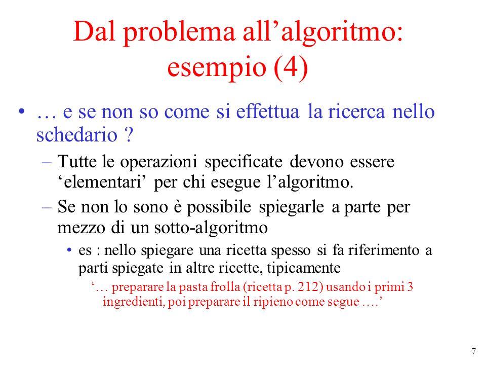 7 Dal problema allalgoritmo: esempio (4) … e se non so come si effettua la ricerca nello schedario ? –Tutte le operazioni specificate devono essere el