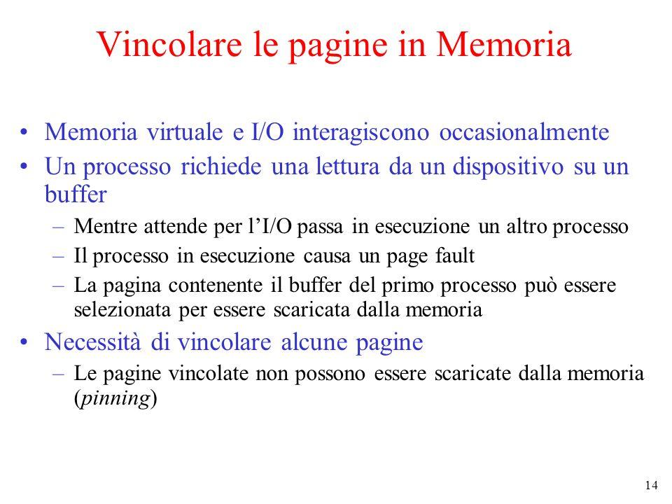 14 Vincolare le pagine in Memoria Memoria virtuale e I/O interagiscono occasionalmente Un processo richiede una lettura da un dispositivo su un buffer