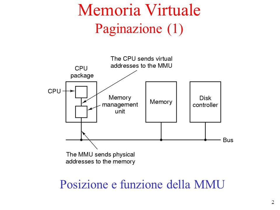2 Memoria Virtuale Paginazione (1) Posizione e funzione della MMU
