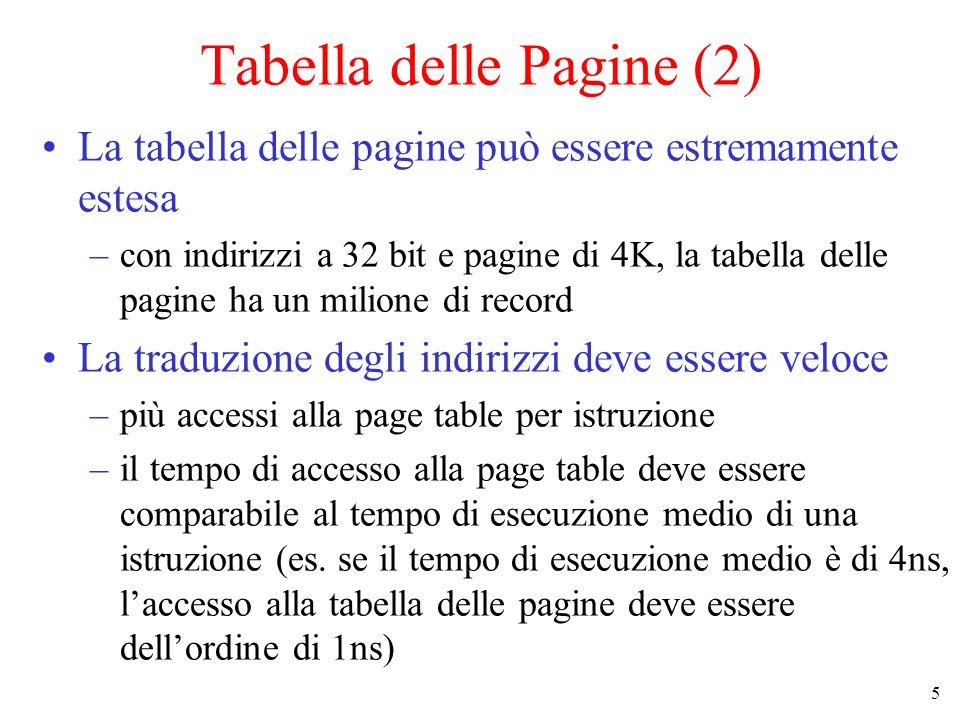 5 Tabella delle Pagine (2) La tabella delle pagine può essere estremamente estesa –con indirizzi a 32 bit e pagine di 4K, la tabella delle pagine ha u