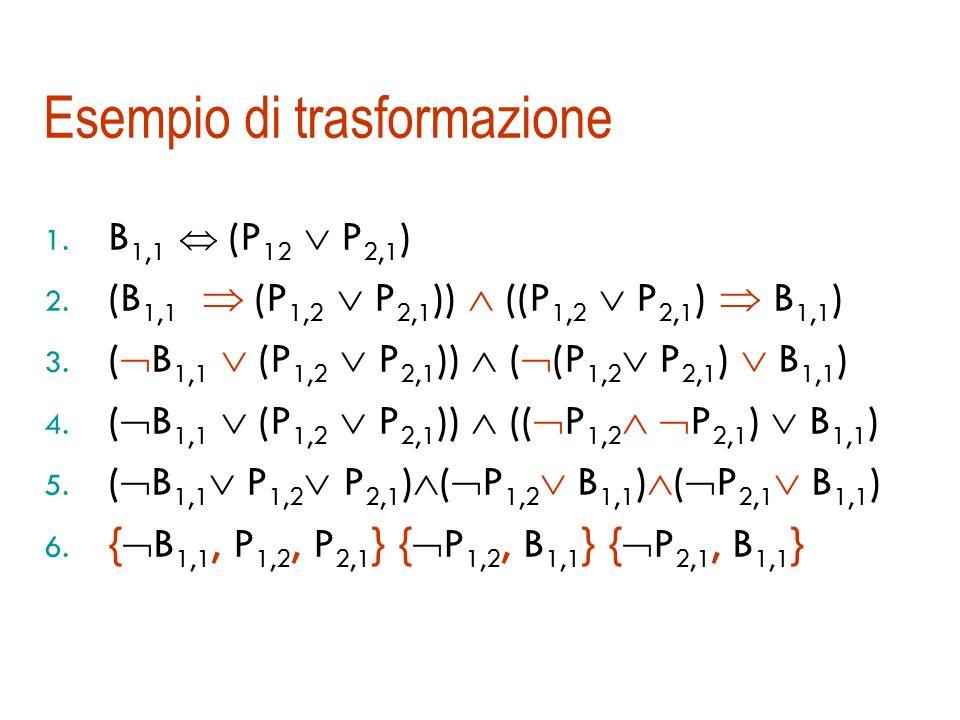 Trasformazione in forma a clausole I passi sono: 1. Eliminazione della : (A B) (A B) (B A) 2. Eliminazione dell : (A B) ( A B) 3. Negazioni allinterno