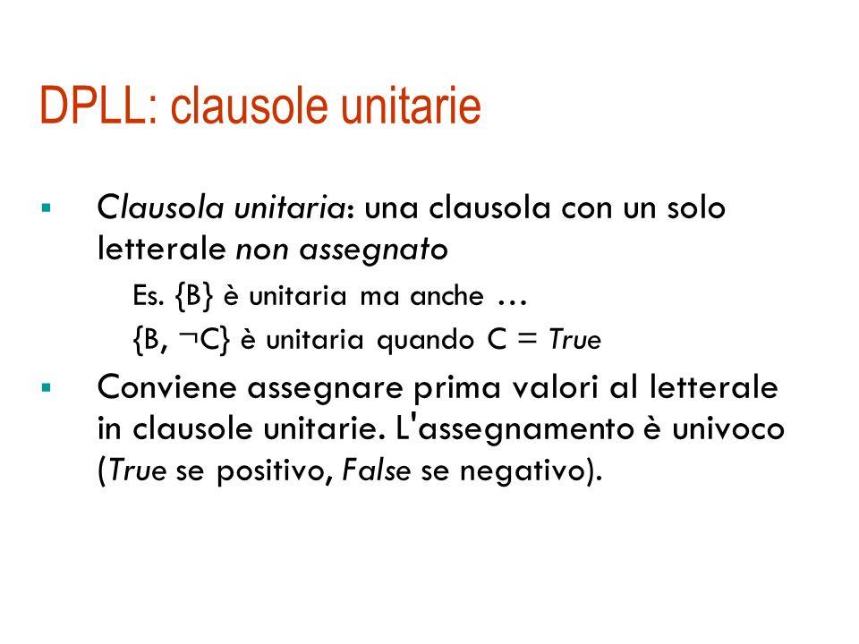 DPLL: simboli puri Simbolo puro: un simbolo che appare con lo stesso segno in tutte le clausole Es. {A, ¬B} {¬B, ¬C} {C, A} A è puro, B anche Nel dete