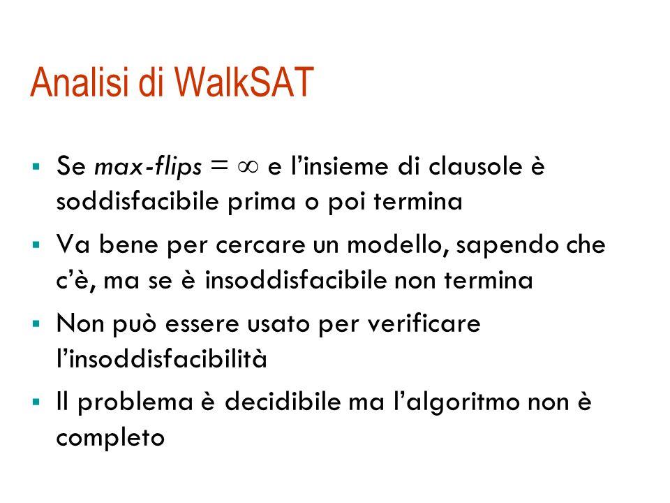 WalkSAT: un esempio { B 1,1, P 1,2, P 2,1 } { P 1,2, B 1,1 } { P 2,1, B 1,1 } { B 1,1 } [B 1,1 =F, P 1,2 =T, P 2,1 =T] 2, 3 F; scelgo 2; a caso:flip B