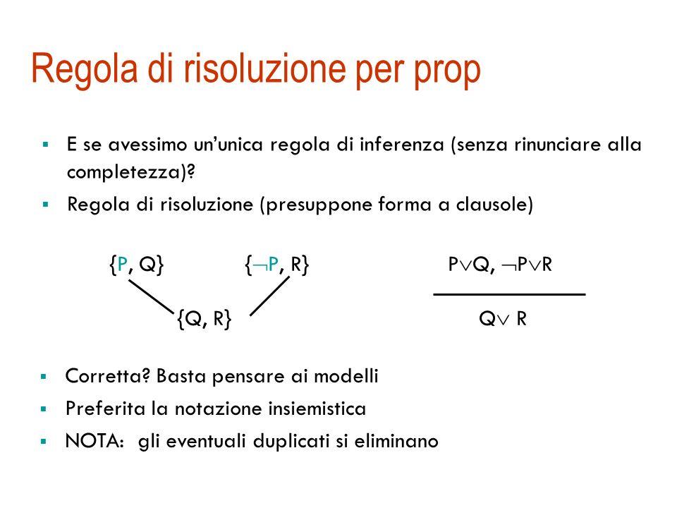 Strategia di ricerca Completezza Le regole della deduzione naturale sono un insieme di regole di inferenza completo (2 per ogni connettivo) Se lalgori