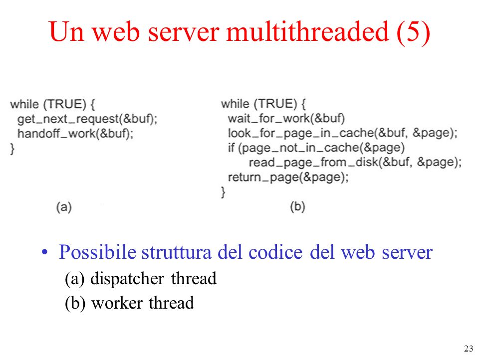 23 Un web server multithreaded (5) Possibile struttura del codice del web server (a) dispatcher thread (b) worker thread