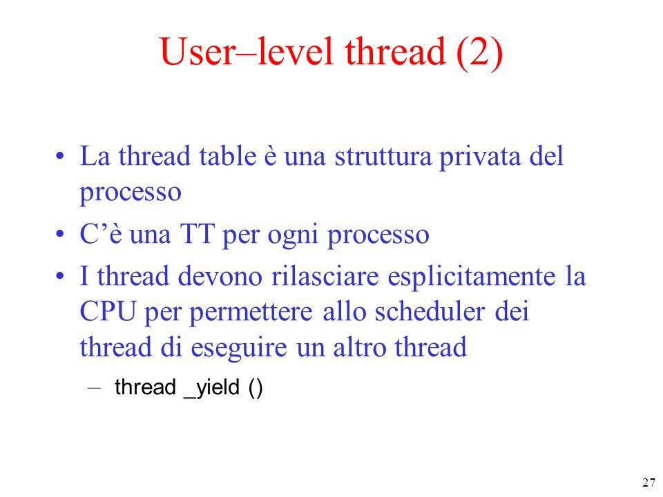 27 User–level thread (2) La thread table è una struttura privata del processo Cè una TT per ogni processo I thread devono rilasciare esplicitamente la