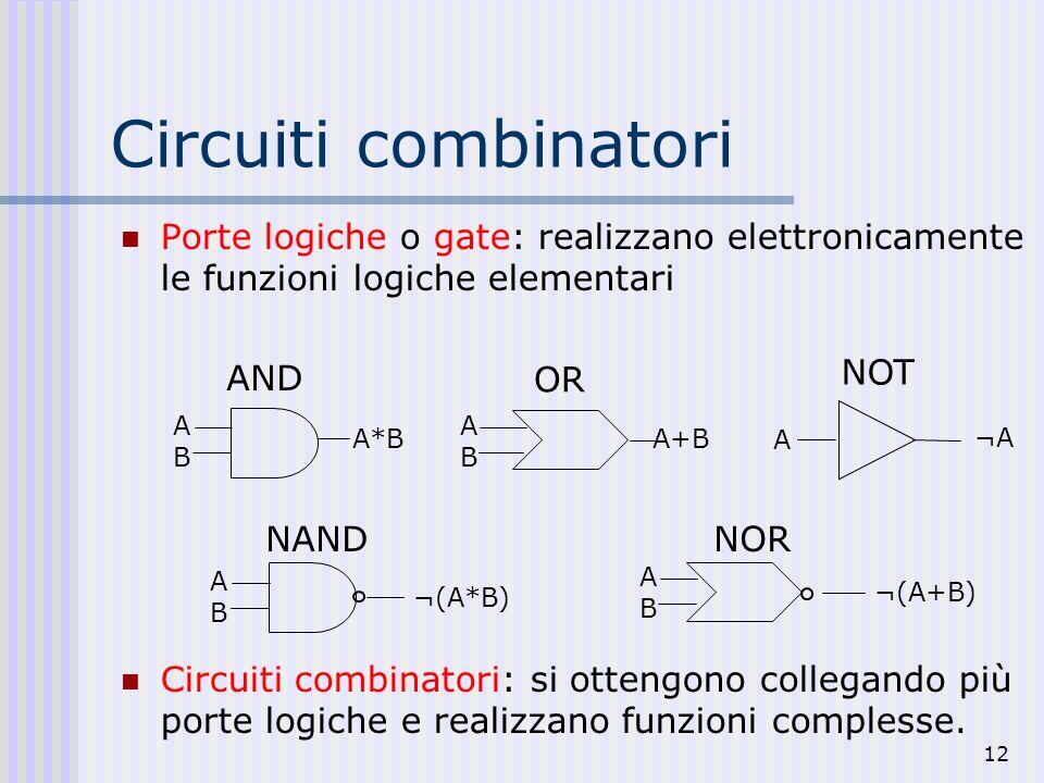 12 Circuiti combinatori Porte logiche o gate: realizzano elettronicamente le funzioni logiche elementari Circuiti combinatori: si ottengono collegando