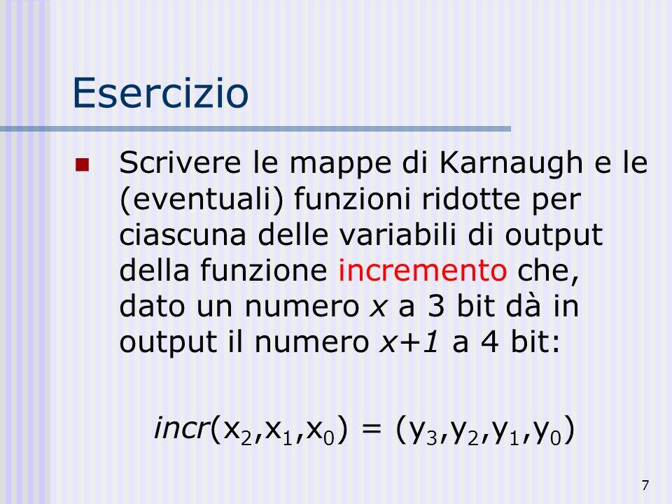 7 Esercizio Scrivere le mappe di Karnaugh e le (eventuali) funzioni ridotte per ciascuna delle variabili di output della funzione incremento che, dato