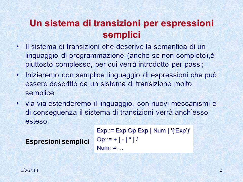 Il sistema di transizioni per le espressioni semplici Semantica di Exp: S exp exp {E   E Exp} {n   n } T exp {n   n } exp E exp n E exp n n [op] n = m E op E exp m E exp n (E) exp n n exp n (Exp op ) (Exp () ) (Exp Num )