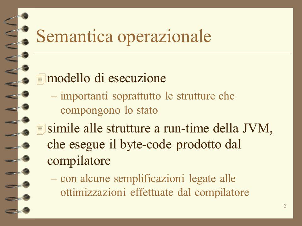 13 Operazioni sullo heap 4 newheap() genera una heap vuota newloc( ) genera una nuova locazione in hbind(( :Heap), (l:Loc), (o:Odescr)) estende associando ad l il valore o 4 un oggetto viene creato con lespressione new Id –genera il valore o:Odescr a partire dalla classe Id –l = newloc( ) –hbind(( :Heap), (l:Loc), (o:Odescr)) –restituisce l