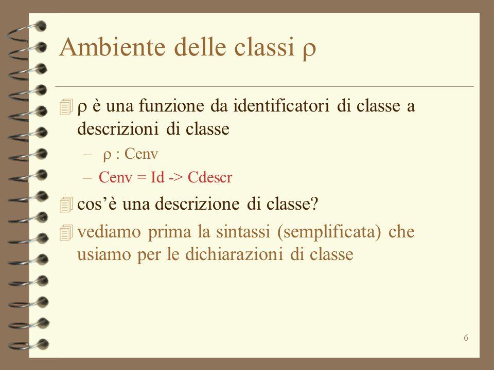 6 Ambiente delle classi è una funzione da identificatori di classe a descrizioni di classe – : Cenv –Cenv = Id -> Cdescr 4 cosè una descrizione di cla