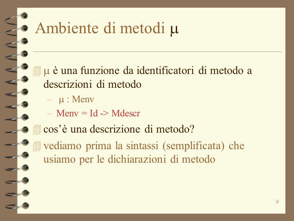 10 Dichiarazione di metodo: sintassi Method_decl := Id (Idlist) Blocco –ignoriamo i tipi –quando il metodo verrà invocato, dovrà sapere la classe o loggetto a cui appartiene Mdescr = Idlist * Blocco * ( Loc | Id ) parametri formali corpo del metodo puntatore a oggetto nome di classe