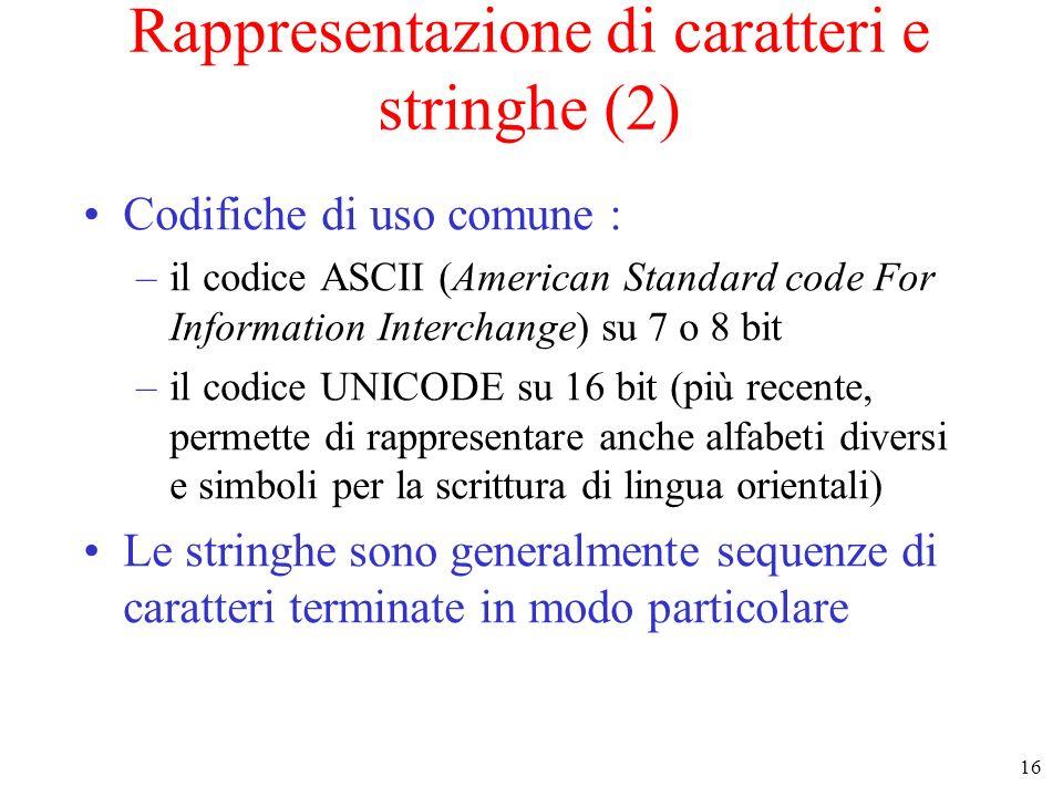 16 Rappresentazione di caratteri e stringhe (2) Codifiche di uso comune : –il codice ASCII (American Standard code For Information Interchange) su 7 o