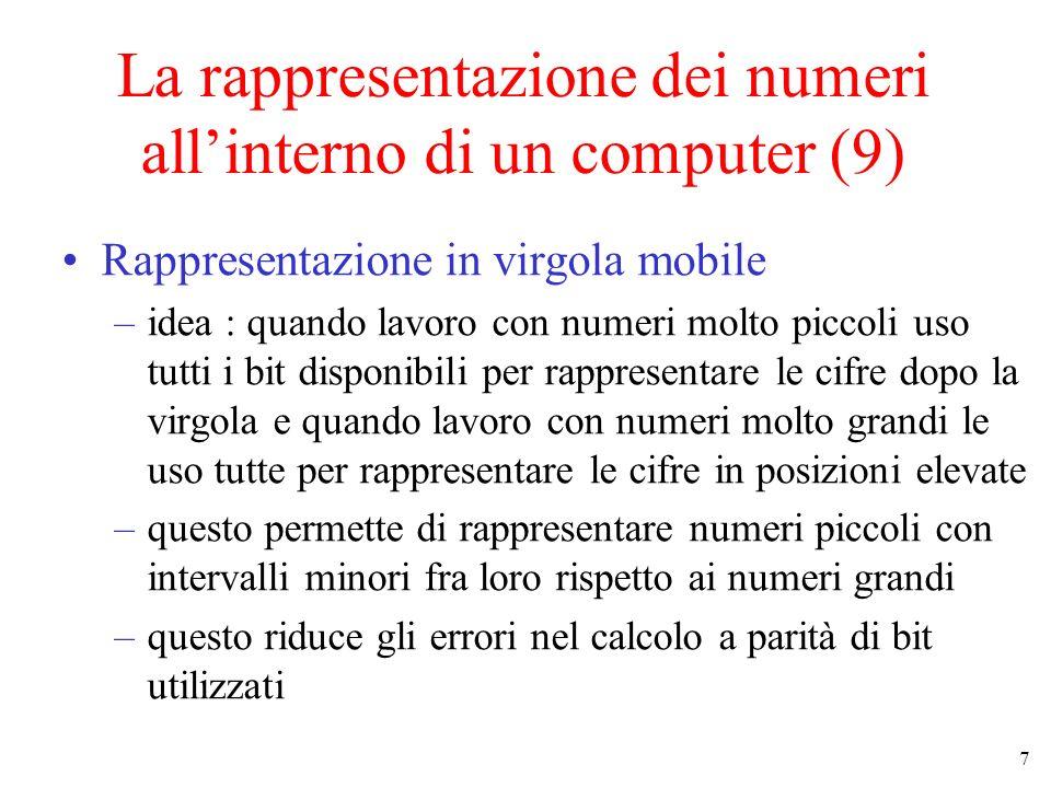 8 La rappresentazione dei numeri allinterno di un computer (10) Rappresentazione in virgola mobile (cont.) 0 Numeri rappresentabili in virgola fissa 0 Numeri rappresentabili in virgola mobile