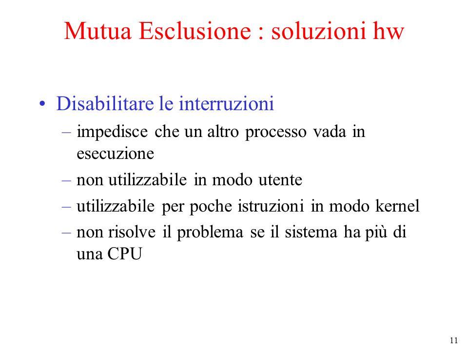 11 Mutua Esclusione : soluzioni hw Disabilitare le interruzioni –impedisce che un altro processo vada in esecuzione –non utilizzabile in modo utente –utilizzabile per poche istruzioni in modo kernel –non risolve il problema se il sistema ha più di una CPU