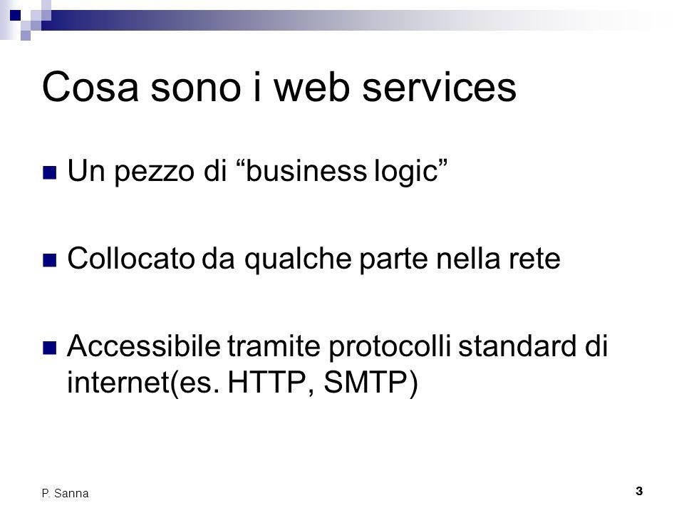 3 P. Sanna Cosa sono i web services Un pezzo di business logic Collocato da qualche parte nella rete Accessibile tramite protocolli standard di intern