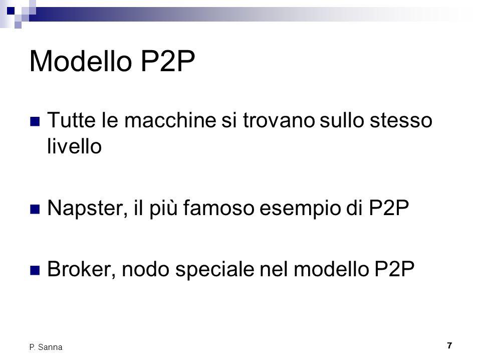 7 P. Sanna Modello P2P Tutte le macchine si trovano sullo stesso livello Napster, il più famoso esempio di P2P Broker, nodo speciale nel modello P2P