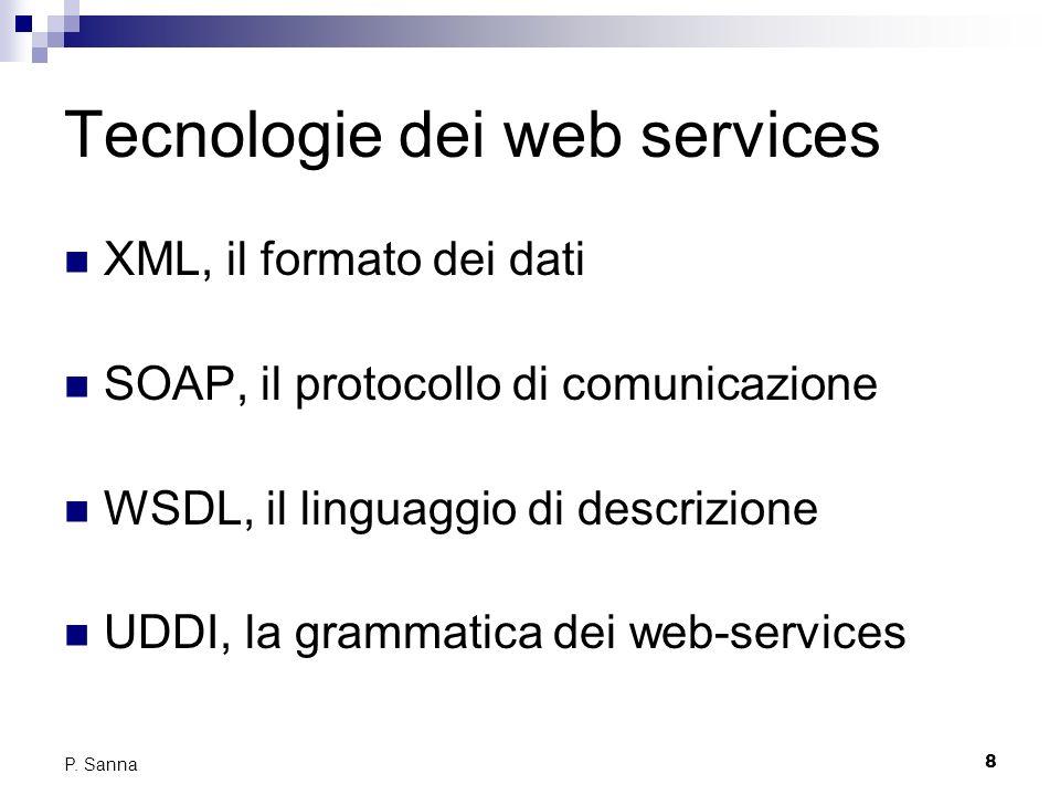 8 P. Sanna Tecnologie dei web services XML, il formato dei dati SOAP, il protocollo di comunicazione WSDL, il linguaggio di descrizione UDDI, la gramm