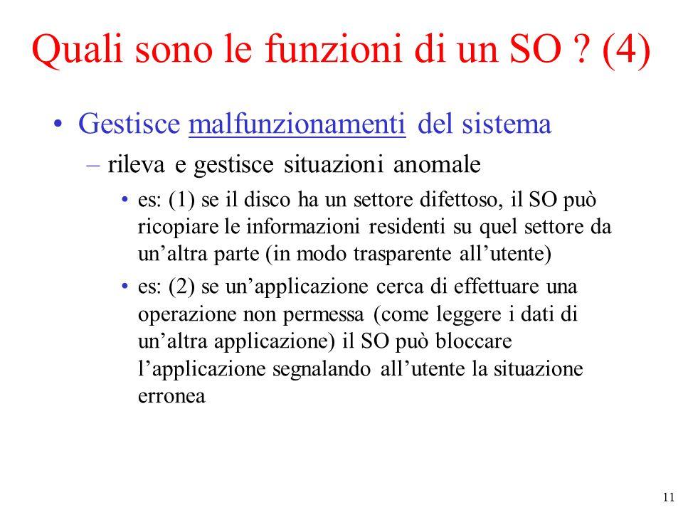 11 Quali sono le funzioni di un SO ? (4) Gestisce malfunzionamenti del sistema –rileva e gestisce situazioni anomale es: (1) se il disco ha un settore