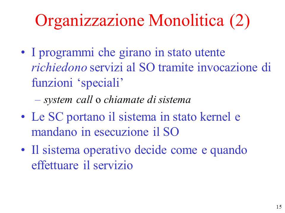 15 Organizzazione Monolitica (2) I programmi che girano in stato utente richiedono servizi al SO tramite invocazione di funzioni speciali –system call