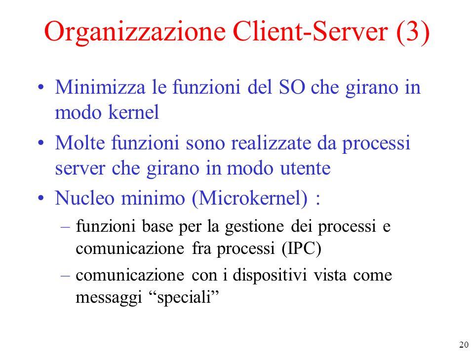 20 Organizzazione Client-Server (3) Minimizza le funzioni del SO che girano in modo kernel Molte funzioni sono realizzate da processi server che giran