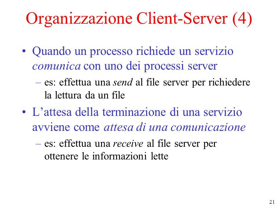 21 Organizzazione Client-Server (4) Quando un processo richiede un servizio comunica con uno dei processi server –es: effettua una send al file server