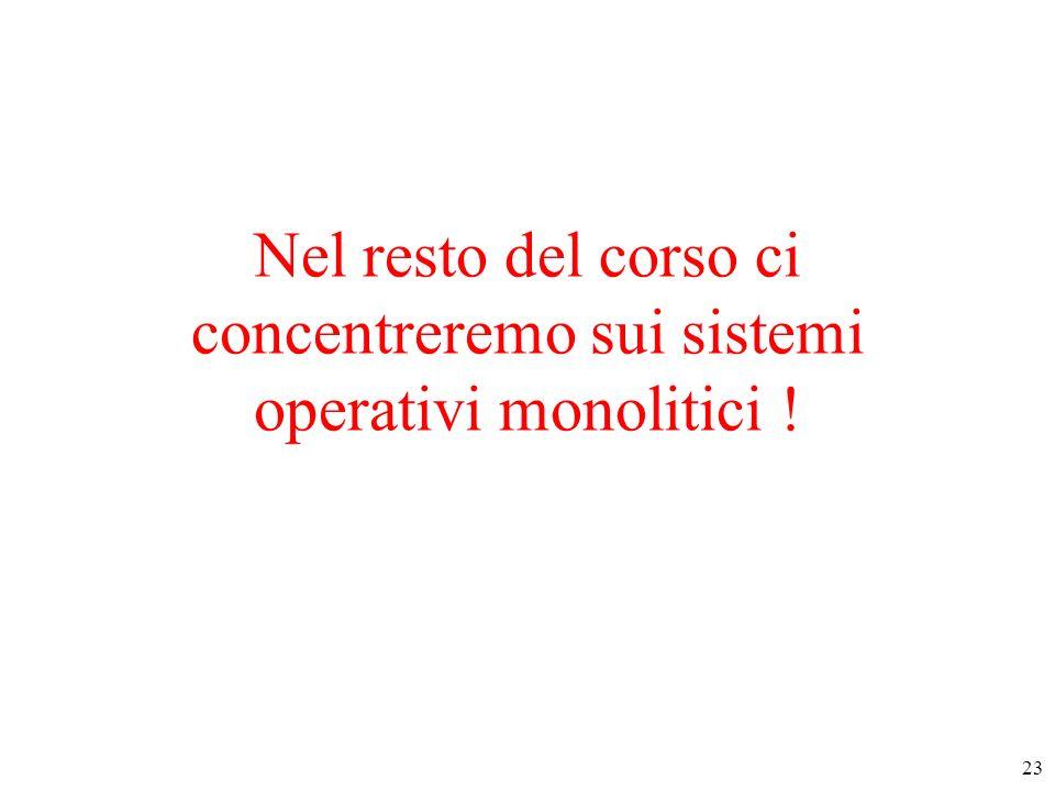 23 Nel resto del corso ci concentreremo sui sistemi operativi monolitici !