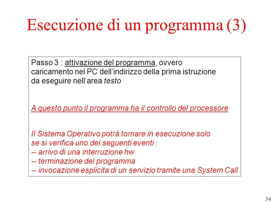 34 Esecuzione di un programma (3) Passo 3 : attivazione del programma, ovvero caricamento nel PC dellindirizzo della prima istruzione da eseguire nell
