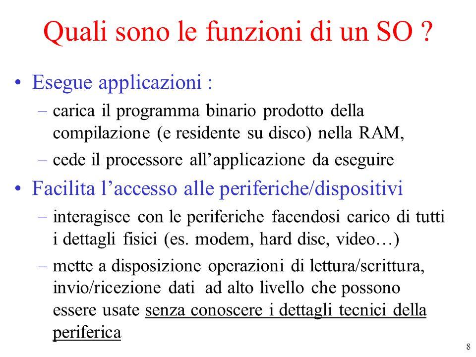 8 Quali sono le funzioni di un SO ? Esegue applicazioni : –carica il programma binario prodotto della compilazione (e residente su disco) nella RAM, –