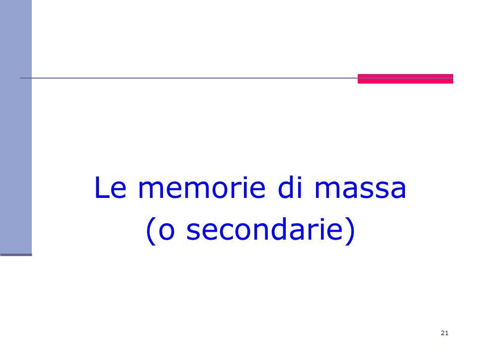 21 Le memorie di massa (o secondarie)