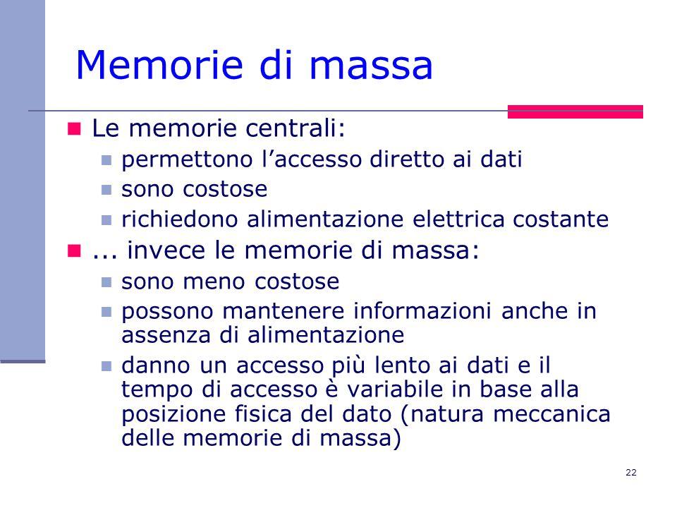 22 Memorie di massa Le memorie centrali: permettono laccesso diretto ai dati sono costose richiedono alimentazione elettrica costante... invece le mem