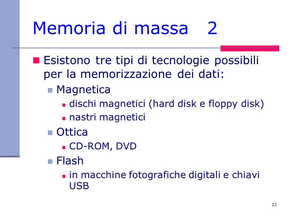 23 Memoria di massa 2 Esistono tre tipi di tecnologie possibili per la memorizzazione dei dati: Magnetica dischi magnetici (hard disk e floppy disk) n