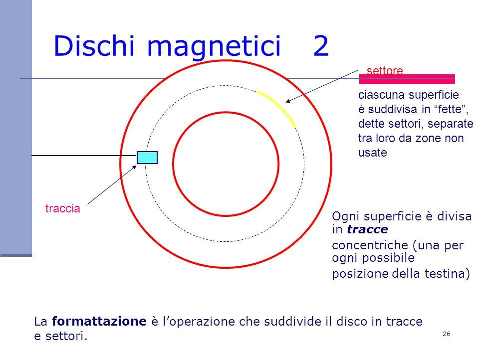 26 Dischi magnetici 2 traccia settore ciascuna superficie è suddivisa in fette, dette settori, separate tra loro da zone non usate Ogni superficie è d