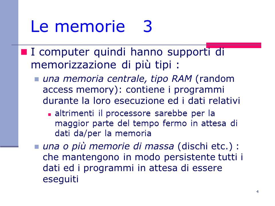 4 Le memorie 3 I computer quindi hanno supporti di memorizzazione di più tipi : una memoria centrale, tipo RAM (random access memory): contiene i prog