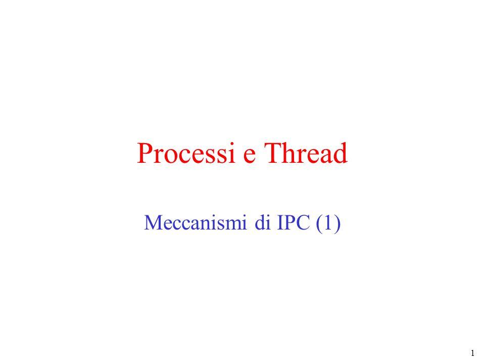 2 Comunicazioni fra processi/thread Processi/thread eseguiti concorrentemente hanno bisogno di interagire per comunicare e sincronizzarsi : –scambiare dati –utilizzare correttamente strutture dati condivise –eseguire azioni nella sequenza corretta Molti meccanismi proposti Per semplicità ci riferiremo principalmente ai processi –maccanismi simili sono disponibili per i thread