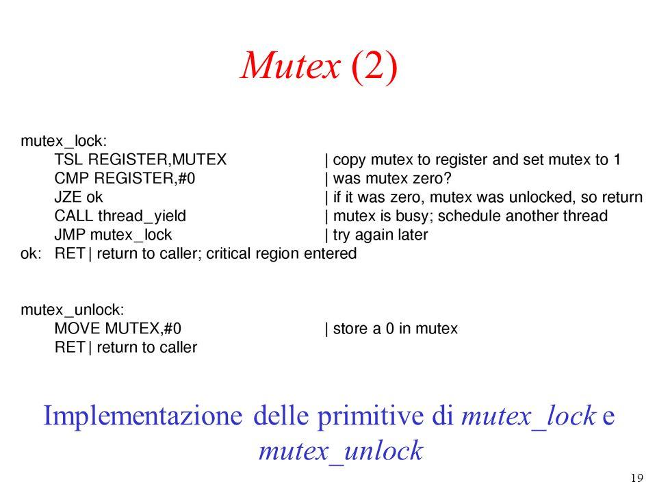 19 Mutex (2) Implementazione delle primitive di mutex_lock e mutex_unlock