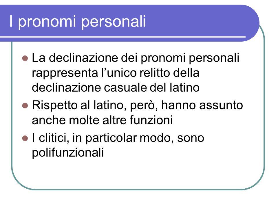 I pronomi personali La declinazione dei pronomi personali rappresenta lunico relitto della declinazione casuale del latino Rispetto al latino, però, h