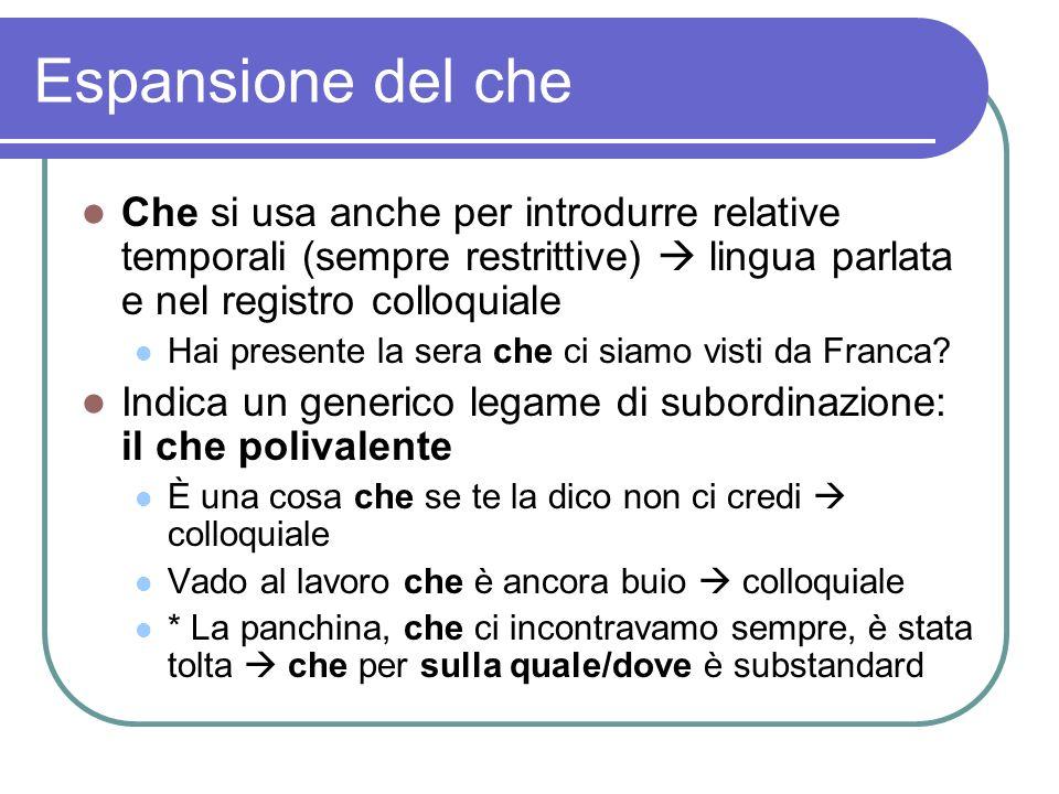 Espansione del che Che si usa anche per introdurre relative temporali (sempre restrittive) lingua parlata e nel registro colloquiale Hai presente la s