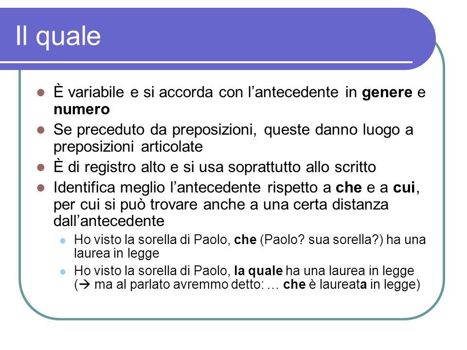 Il quale È variabile e si accorda con lantecedente in genere e numero Se preceduto da preposizioni, queste danno luogo a preposizioni articolate È di