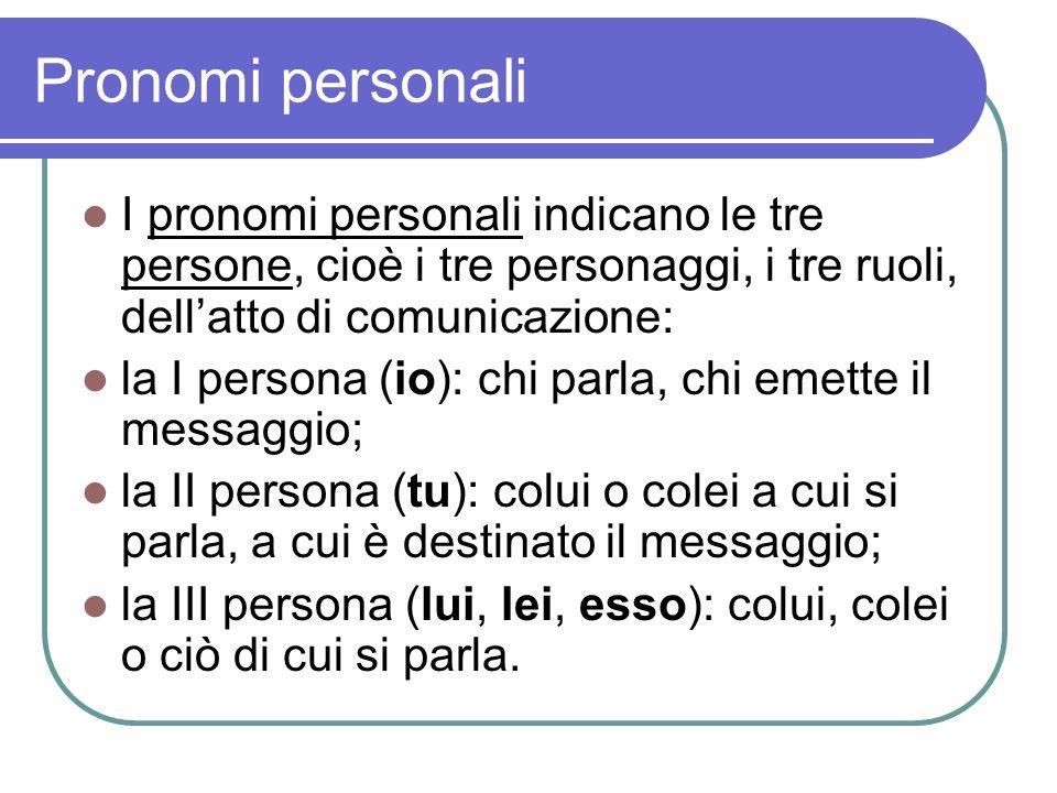 Pronomi personali I pronomi personali indicano le tre persone, cioè i tre personaggi, i tre ruoli, dellatto di comunicazione: la I persona (io): chi p