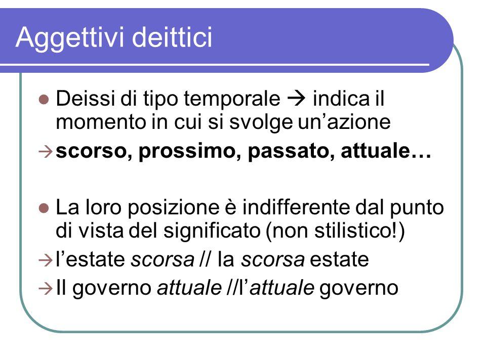 Aggettivi deittici Deissi di tipo temporale indica il momento in cui si svolge unazione scorso, prossimo, passato, attuale… La loro posizione è indiff