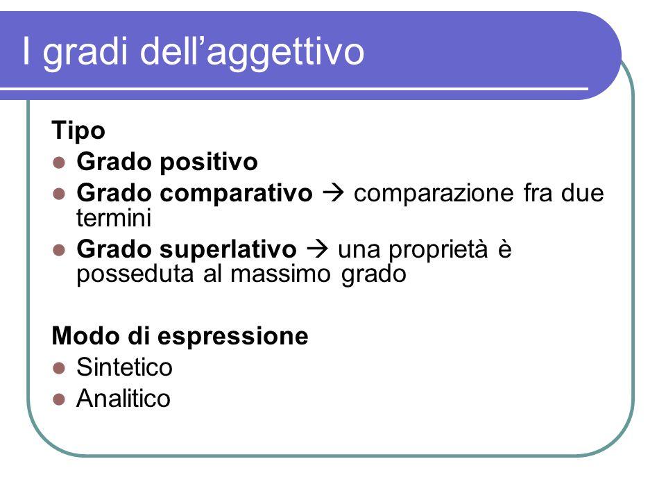 I gradi dellaggettivo Tipo Grado positivo Grado comparativo comparazione fra due termini Grado superlativo una proprietà è posseduta al massimo grado Modo di espressione Sintetico Analitico