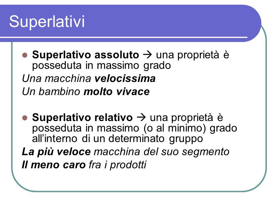 Superlativi Superlativo assoluto una proprietà è posseduta in massimo grado Una macchina velocissima Un bambino molto vivace Superlativo relativo una